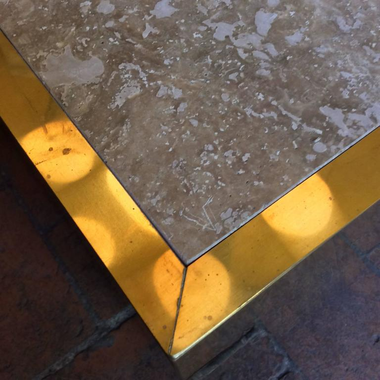 Nice Mid-Century Modern, Italian Set of Three Coffee Table in Brass and Stone For Sale 2