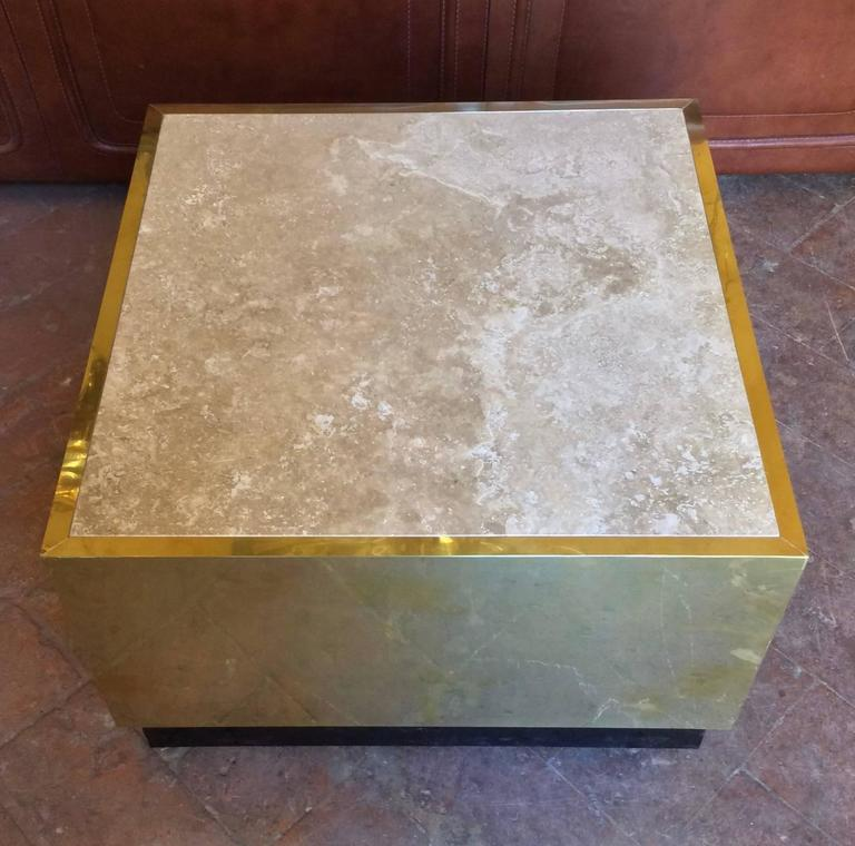 Nice Mid-Century Modern, Italian Set of Three Coffee Table in Brass and Stone For Sale 1