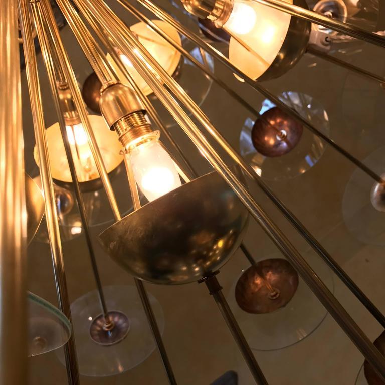 Late 20th Century Mid-Century Modern Large Italian Brass & Transparent Glass Sputnik Chandelier For Sale