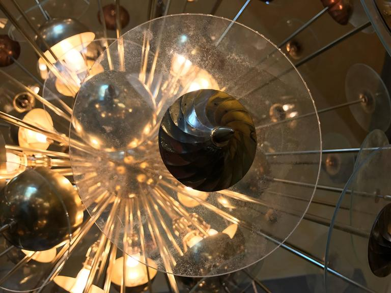 Mid-Century Modern Large Italian Brass & Transparent Glass Sputnik Chandelier For Sale 1