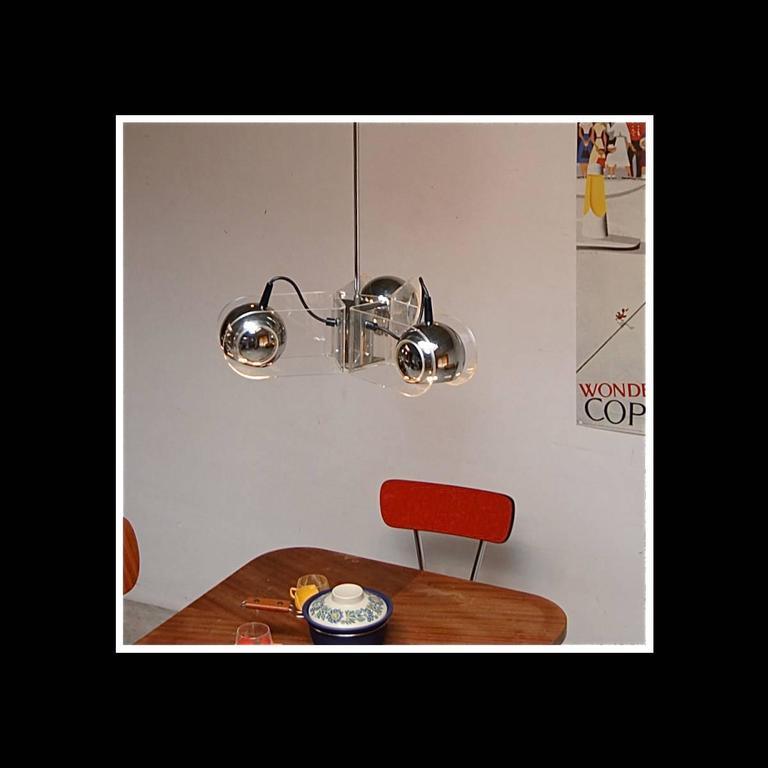 Rare Chrome and Plexiglass Ceiling Lamp by Gino Sarfatti for Arteluce, 1960s 4