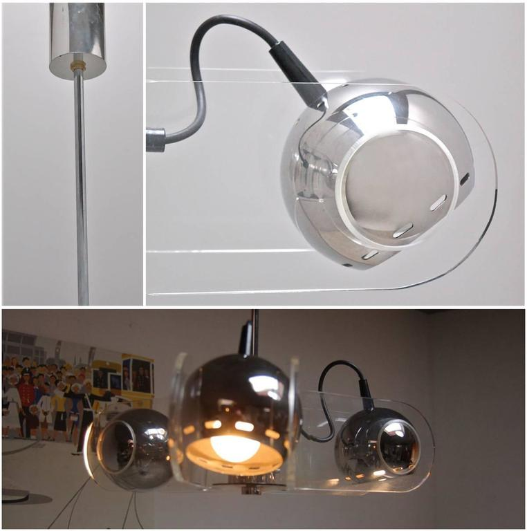 Rare Chrome and Plexiglass Ceiling Lamp by Gino Sarfatti for Arteluce, 1960s 3