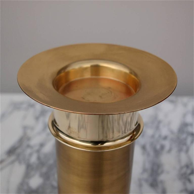 Scandinavian Modern Brass Candleholder by Finish Designer Tapio Wirkkala for Kultakeskus For Sale
