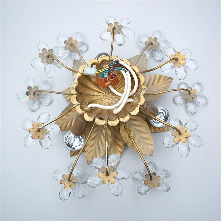 Hollywood Regency Style Gold Metal Floral Wall Sconce with Crystal Flowers For Sale at 1stdibs