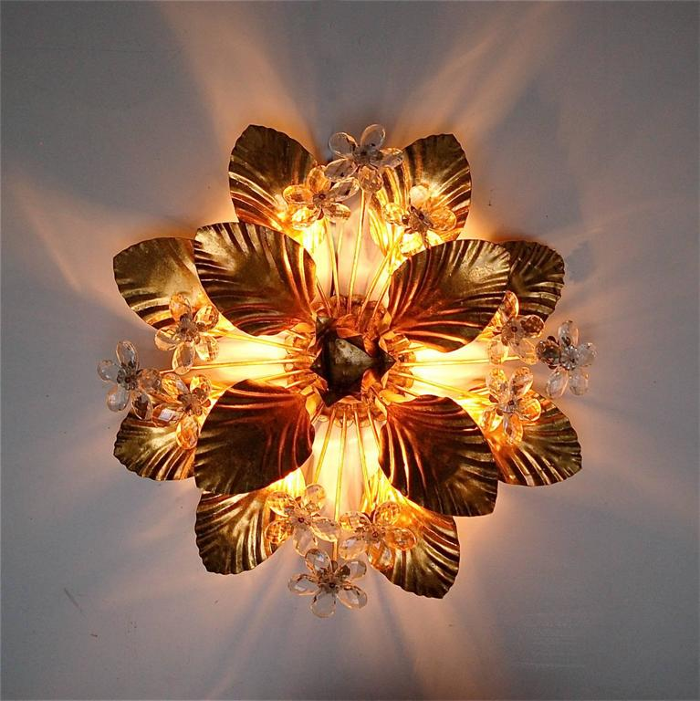 Vintage Gold Metal Floral Wall Sconce With Hand Cut