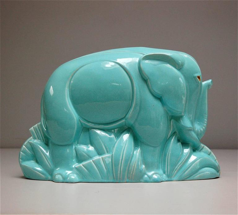 Art Deco Crackle Glaze Ceramic Elephant By Charles
