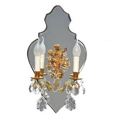 Candle Wall Sconce on Beveled Edged Mirror Backing, 1950s, France