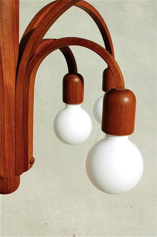 Ten Arm Flush Mounted Teak Chandelier By Domus Germany