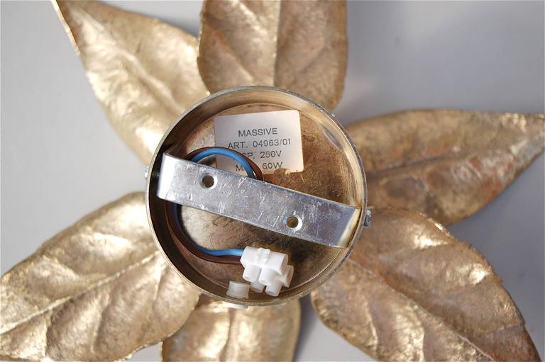 20th Century Hollywood Regency style Leaf Shaped Wall Lights by Willy Daro, circa 1970s For Sale