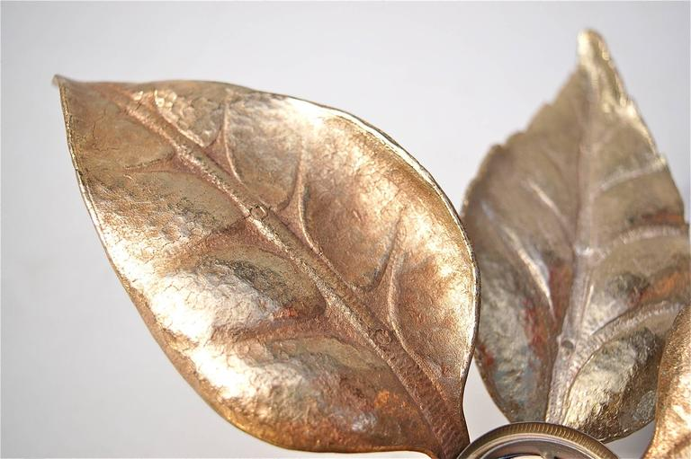 Belgian Hollywood Regency style Leaf Shaped Wall Lights by Willy Daro, circa 1970s For Sale