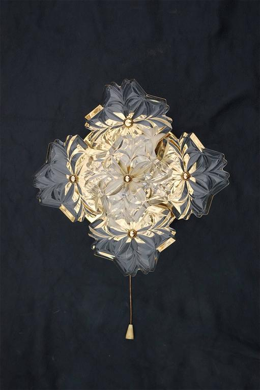 Large Flower Wall Sconces : Gold Metal Floral Wall Sconce with Large Crystal Flowers, Germany, 1980s For Sale at 1stdibs