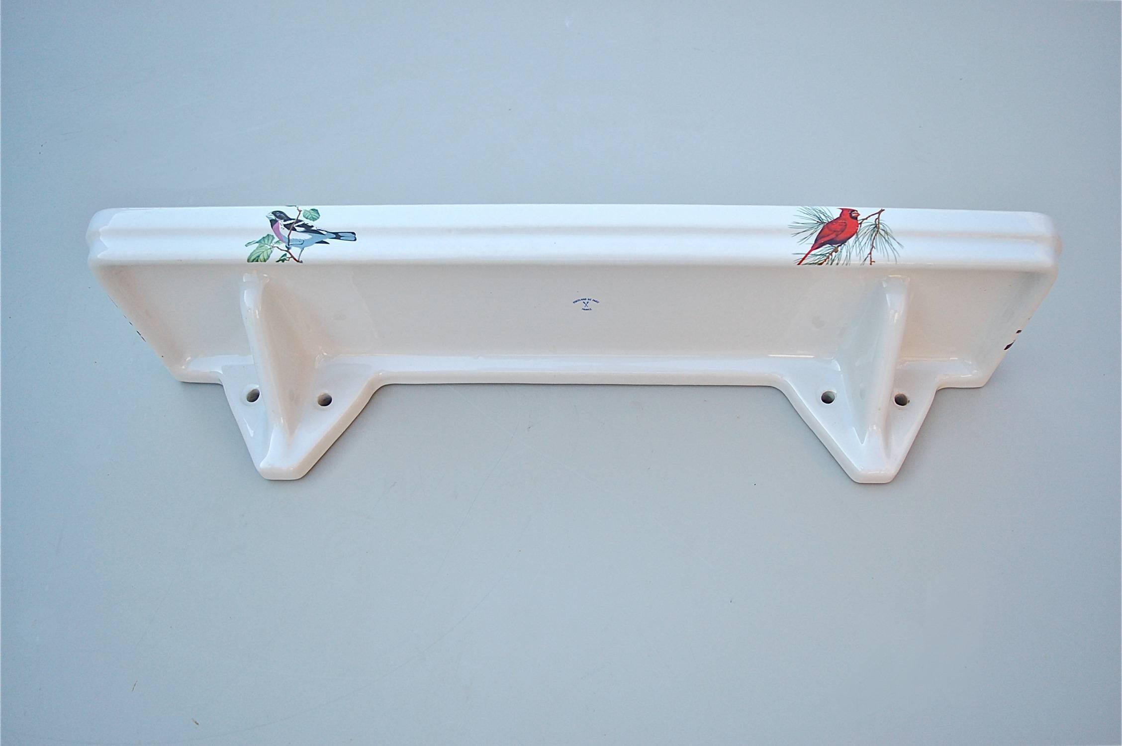 Porcelain Bathroom Vanity Shelf with Bird Decoration, 1950s, France ...