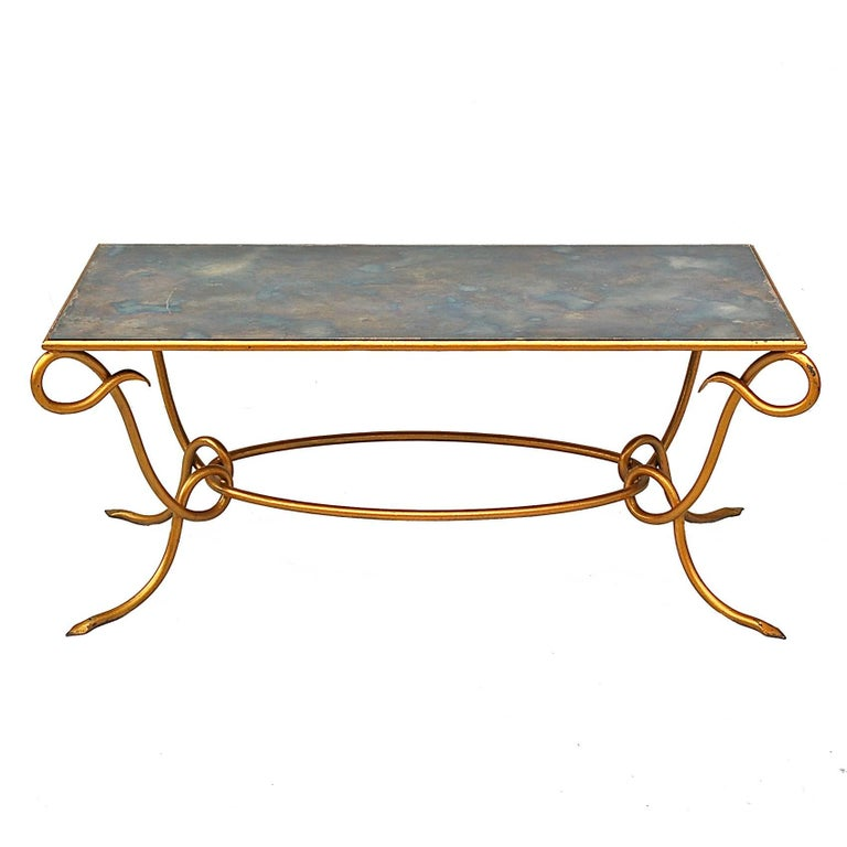 Gilt Coffee Table with Original Iridescent Mirrored Top by René Drouet