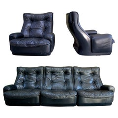 Modular Leather Lounge Set by Airborne International, circa 1970s
