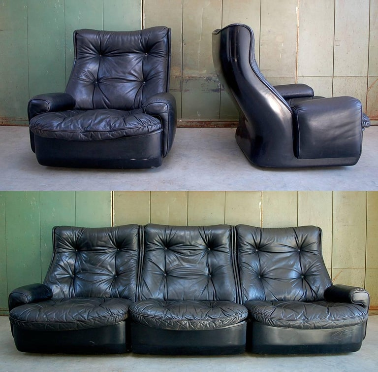 Modular Leather Lounge Set By Airborne International