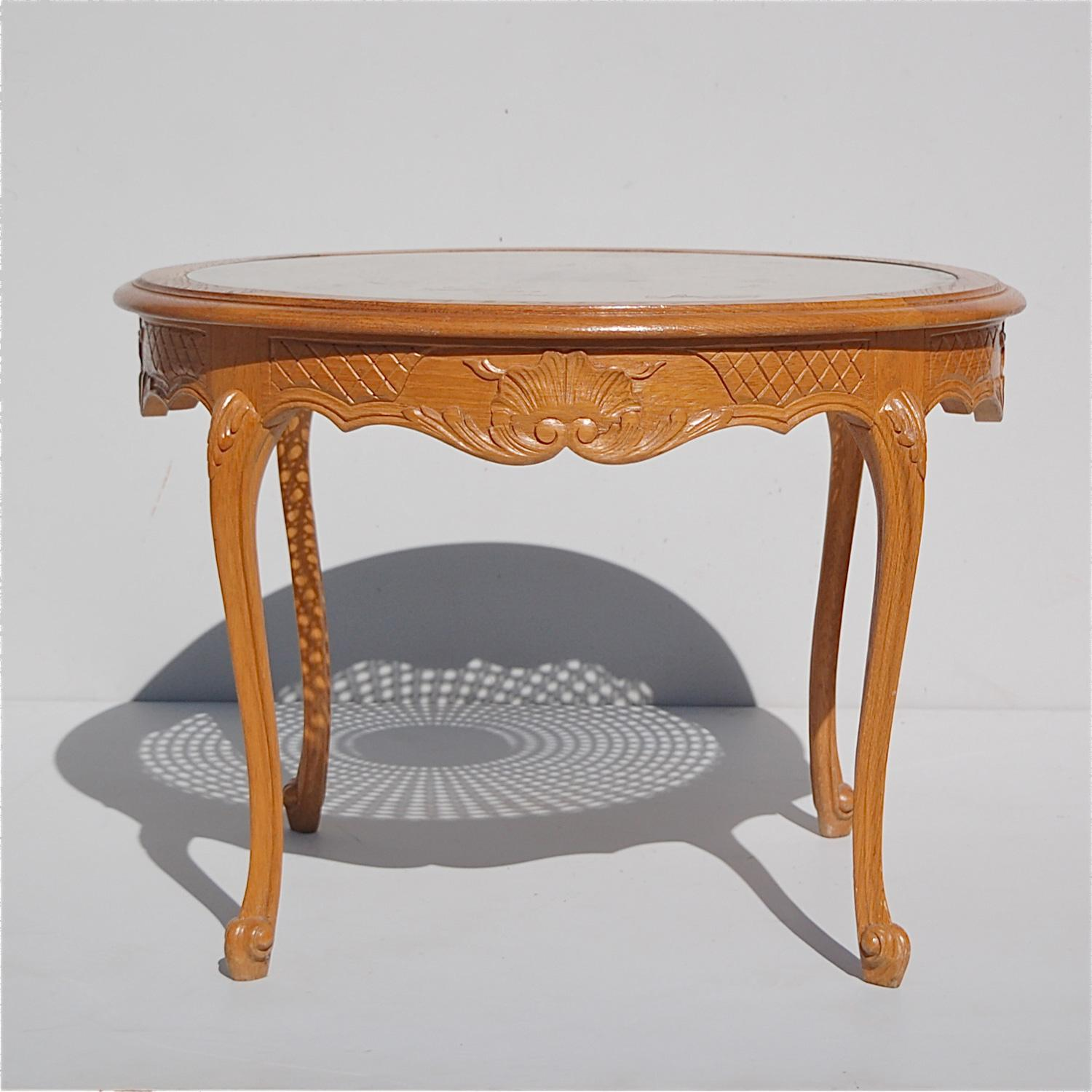 Superieur French Provincial Circular Coffee Table With Cane And Glass Top, 1950s,  France For Sale