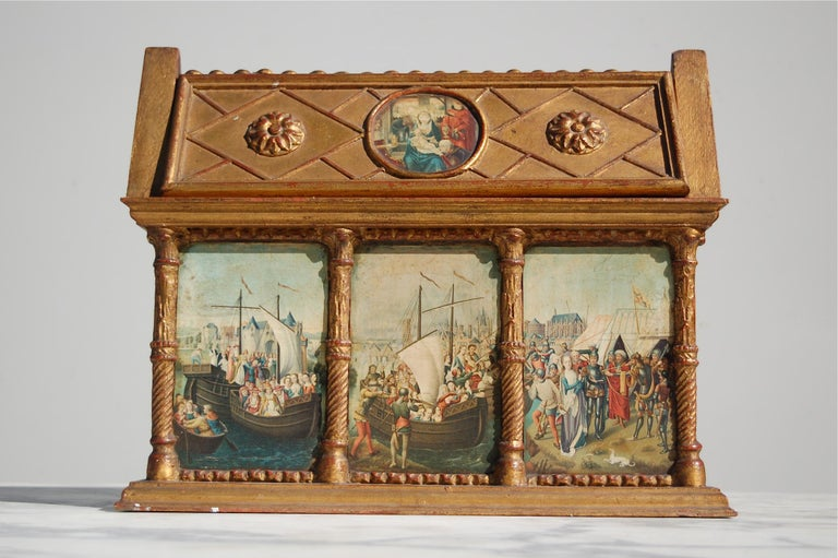 Belgian Rare Miniature Replica Shrine, Mid-20th Century For Sale