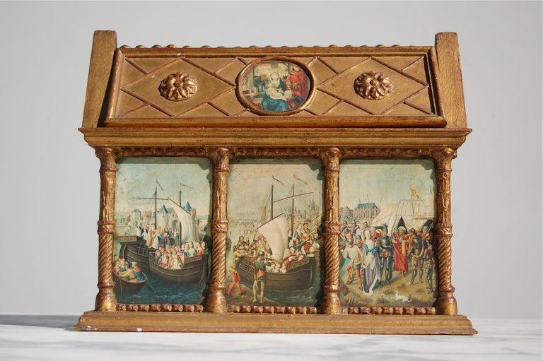Belgian Rare Miniature Replica of Sint Ursula Shrine, Mid-20th Century For Sale