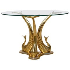 Hollywood Regency Style Peacock Coffee Table in Polished Brass