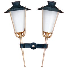 Double Lantern Sconce by Arlus, 1950s, France