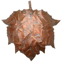 Handcrafted Copper Wall Light in Shape of Leaf, 1970s, Germany