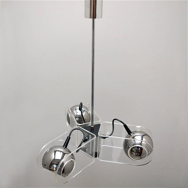 Rare Chrome and Plexiglass Ceiling Lamp by Gino Sarfatti for Arteluce, 1960s 2