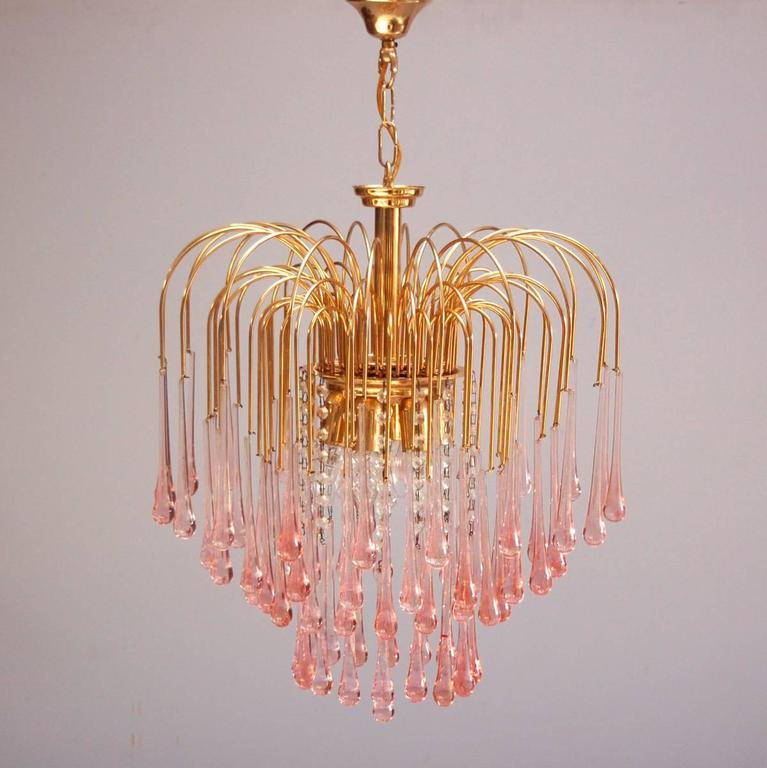 Murano Pink Crystal Teardrop Waterfall Chandelier by