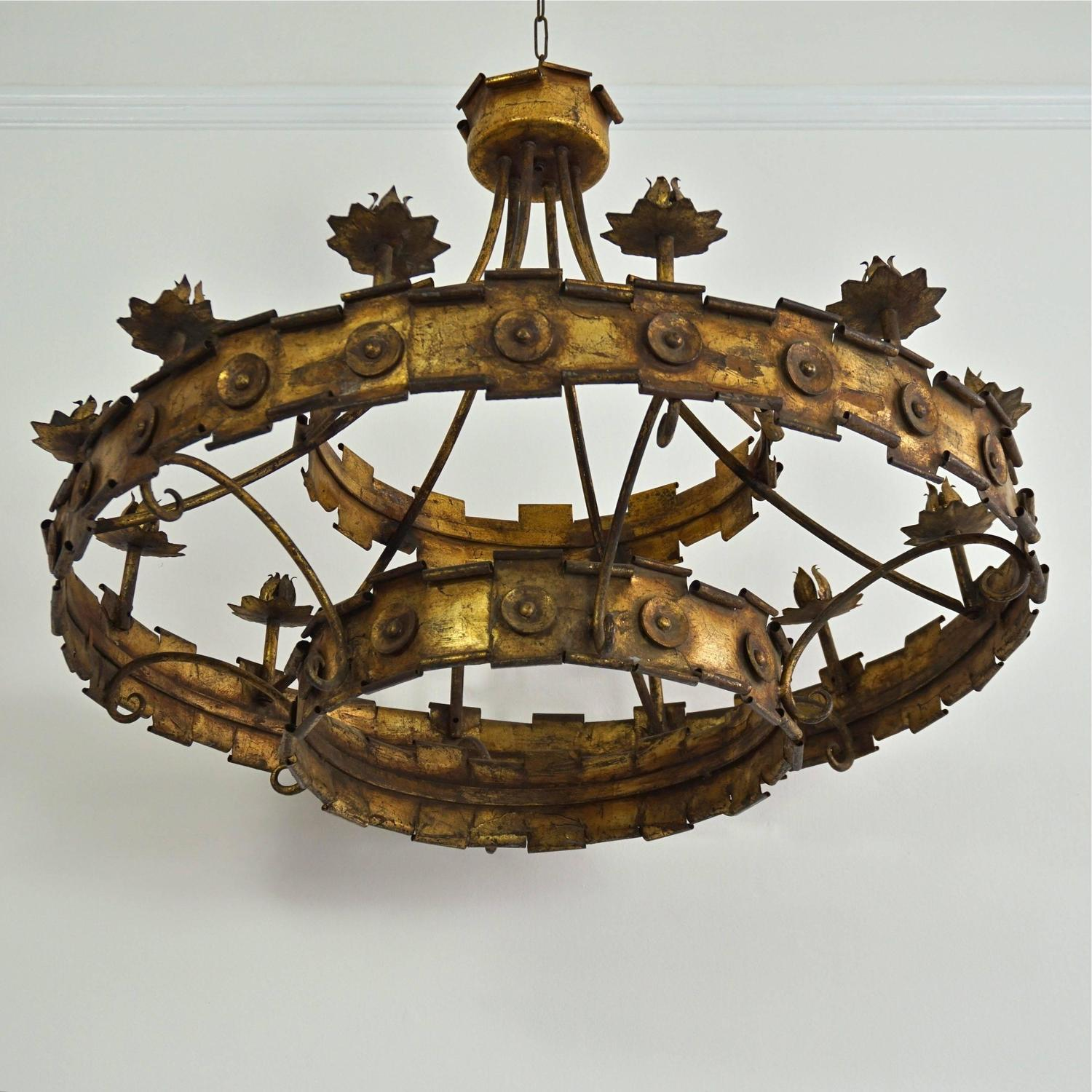 Spanish gilded metal corona chandelier at 1stdibs mozeypictures Images