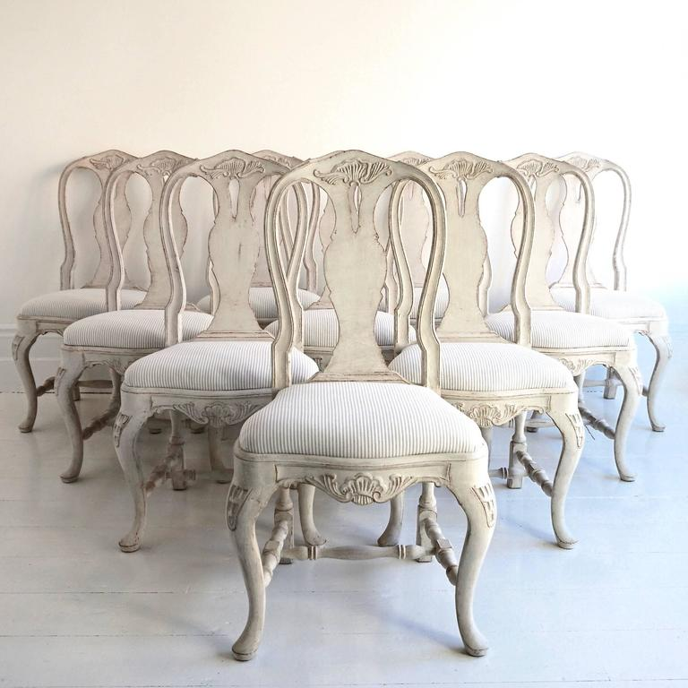 Set Of Ten Antique Swedish Rococo Style Dining Chairs 2