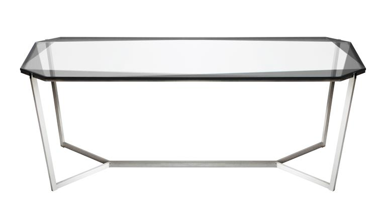 Brushed Gem Rectangular Dining Table/ Blue Glass with Stainless Steel Base by Debra Folz For Sale