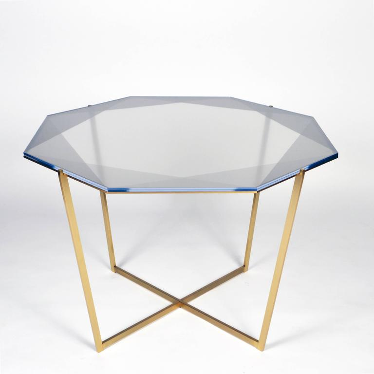 Other Gem Octagonal Dining Table / Pink, Brass  For Sale