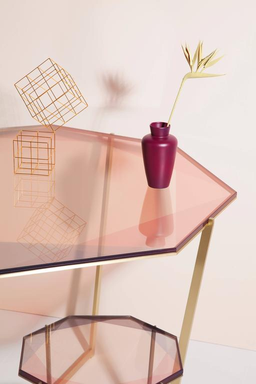 Laminated Gem Octagonal Dining Table / Pink, Brass  For Sale