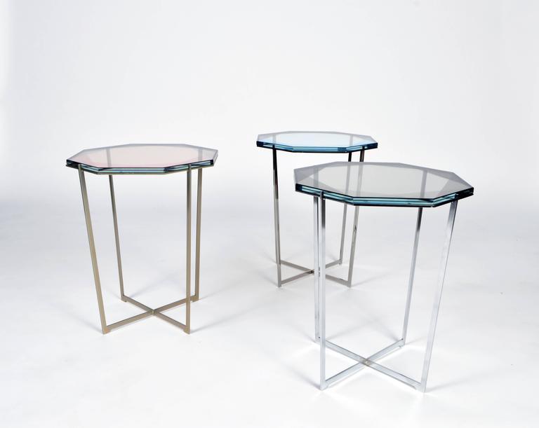 Other Gem Side Table - Blush Glass w/ Brass Base by Debra Folz For Sale