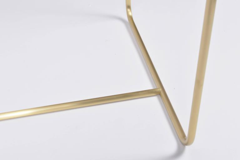 Plated Drape Brass Desk in White For Sale