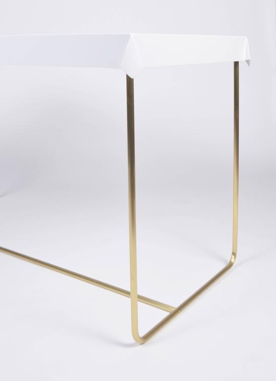 American Modern Drape Brass Desk in White For Sale