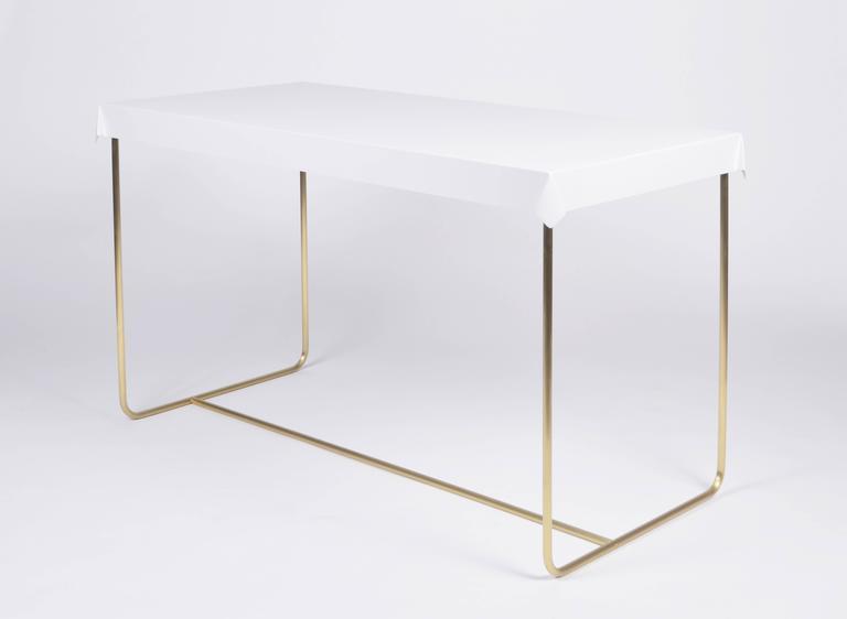 Drape Brass Desk in White 2