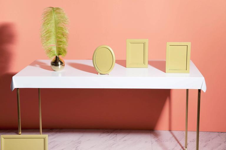 Contemporary Drape Brass Desk in White For Sale