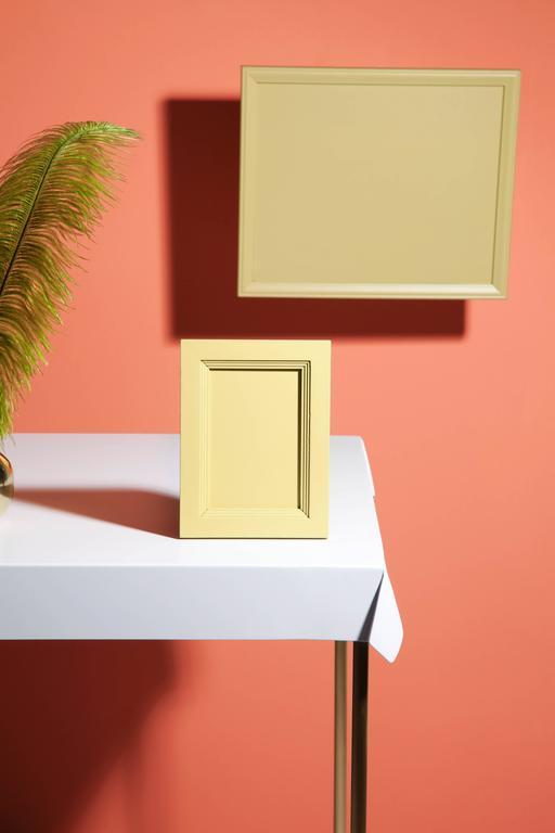 Steel Drape Brass Desk in White For Sale