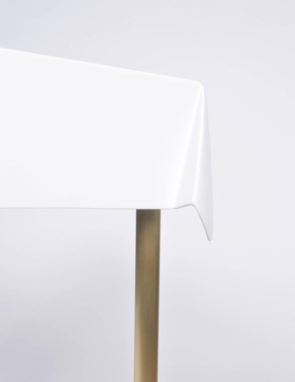 American Drape Brass Desk in White For Sale
