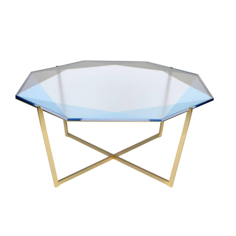 Other Gem Octagonal Coffee Table / Blush, Brass For Sale