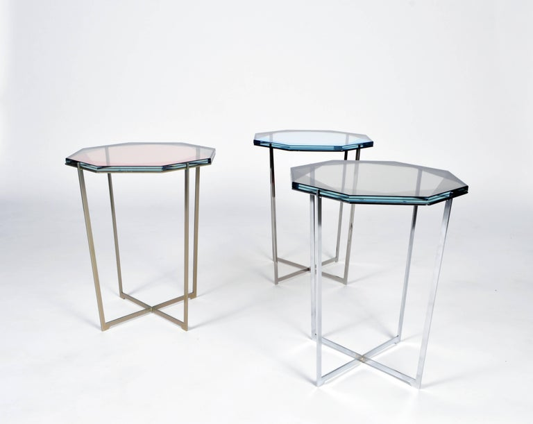 Other Gem Side Table - Blush Glass w/ Stainless Steel Base by Debra Folz For Sale