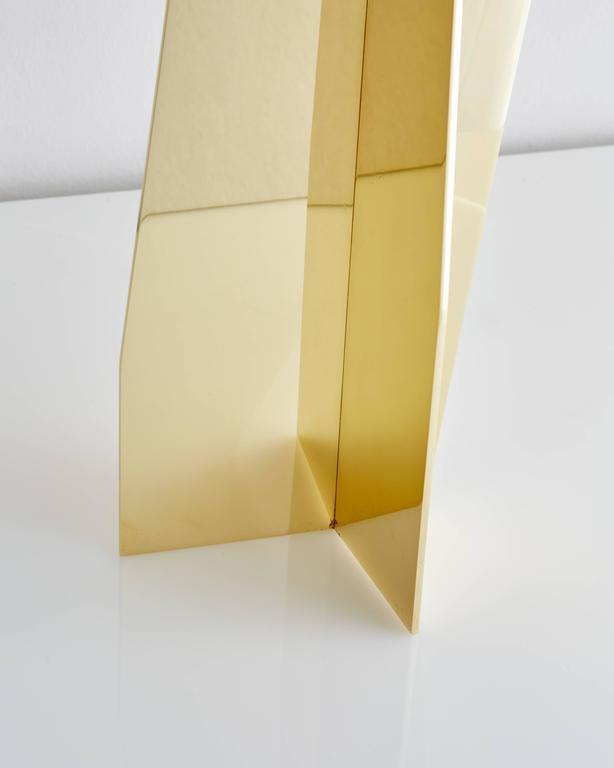 American Folded Brass Origami Table Lamp For Sale