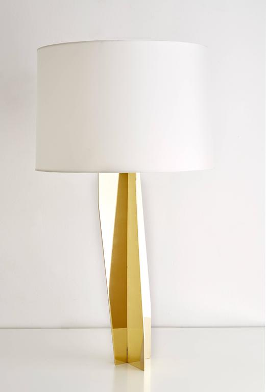 Modern Folded Brass Origami Table Lamp For Sale