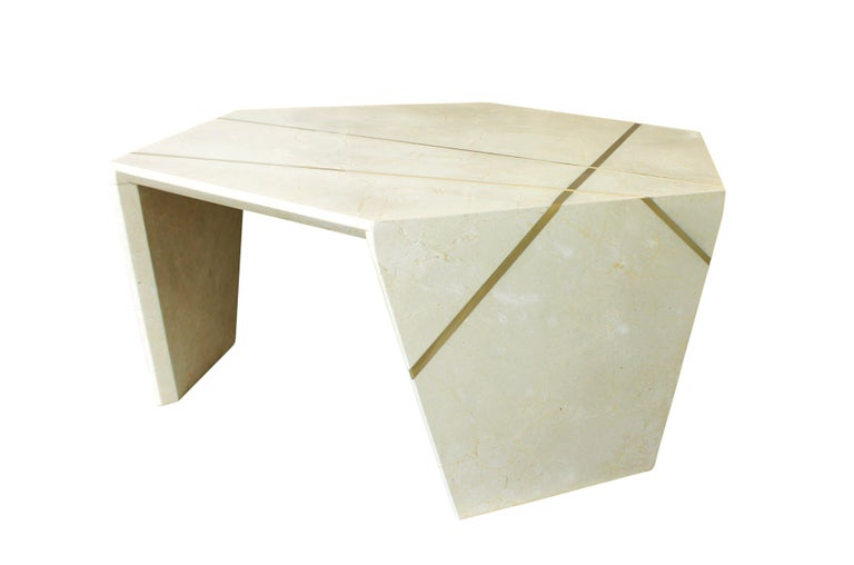 American Planar Sculptural Cocktail in Crema Marfil Marble For Sale