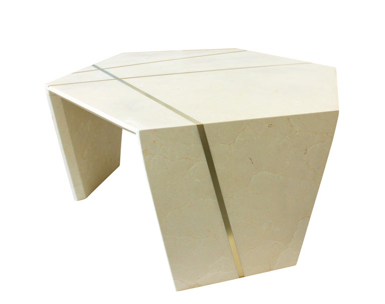 Polished Planar Sculptural Cocktail in Crema Marfil Marble For Sale