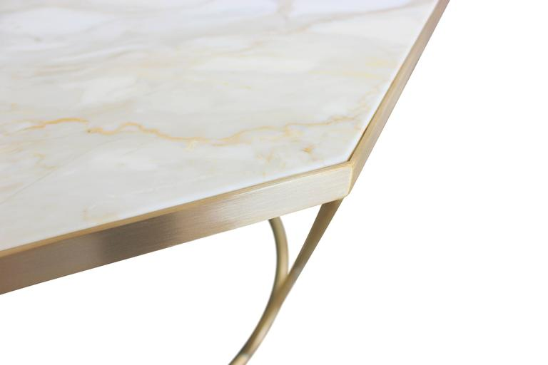 Modern Facet Sculptural Cocktail Table in Satin Bronze with Inset Honed Marble Top. For Sale