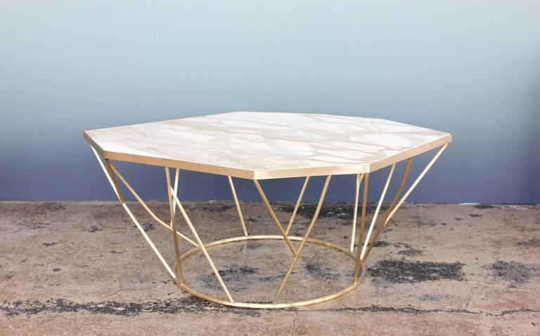 American Facet Sculptural Cocktail Table in Satin Bronze with Inset Honed Marble Top. For Sale