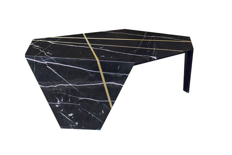 Modern Planar Sculptural Marble Cocktail Table with Inlaid Bronze For Sale