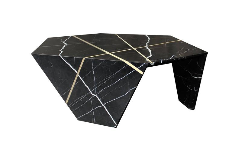 American Planar Sculptural Marble Cocktail Table with Inlaid Bronze For Sale