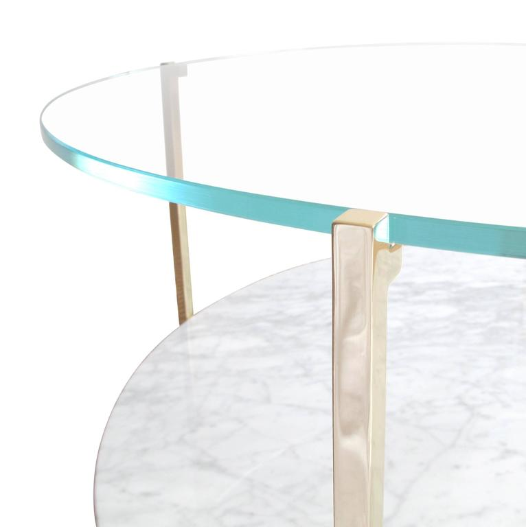 Modern Arturo Round or Oval Polished Brass and Marble Cocktail Table For Sale
